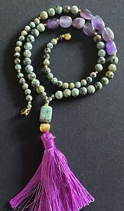 Turquoise and Amethyst Y lariat beaded Gemstone & Raspberry silk tassel necklace