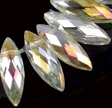 22x7mm Crystal AB Faceted Marquise Drop Czech Glass Beads (14)