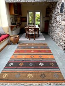 Red Orange Blue Natural Wool Cotton Stripe Kilim Available Area or Runner Rug