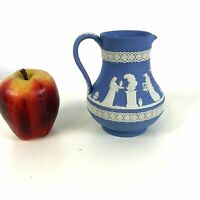 "Vintage Wedgwood Blue Jasperware 5"" Milk Pitcher"