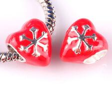 925 silver 2pcs red love big hole Beads Fit European Charm Bracelet DIY A#872