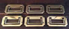 OLD VTG NOS SOLID BRASS RECESSED FLUSH HARDWARE HANDLE DRAWER PULL LOT OF 6