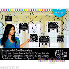 BLACK AND WHITE HANGING SWIRL DECORATIONS (12) ~ Birthday Party Supplies Foil