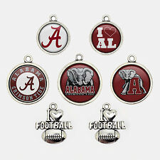5Pcs NCAA Alabama Crimson Tide College Football Logo Charms Glass Jewelry Gift