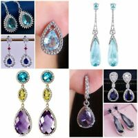 Gorgeous 925 Silver Drop Earrings Women Cubic Zircon Jewelry A Pair/set