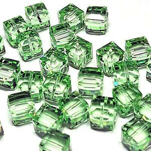 8mm Cube CHRYSOLITE SWAROVSKI® Crystal Beads #5601 - 5 BEADS - (#780)