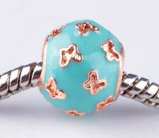 2pcs Painted Sky Blue Butterfly big hole Beads Fit European Charm Bracelet A894