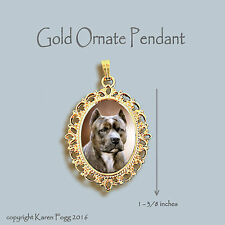 Pit Bull Terrier Dog Brindle Crop Ears - Ornate Gold Pendant Necklace
