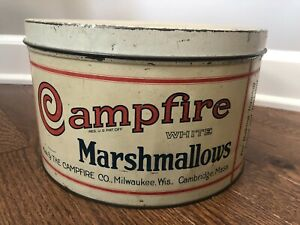Campfire White Marshmallow tin made in Milwaukee, WI and Cambridge, MA