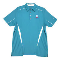 Pin High Cool Dry Polo Golf Shirt Mens Size L Large Blue Green Short Sleeve LOGO