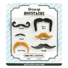 6 ASSORTED DRESSING UP FANCY DRESS FAKE MOUSTACHE SELF ADHESIVE UK SELLER