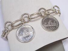 Bracciale in Argento 925 con 2 monete da 500 lire in Argento - 3 Caravelle -