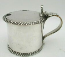 More details for good old sheffield plated drum mustard pot with blue glass liner c1830