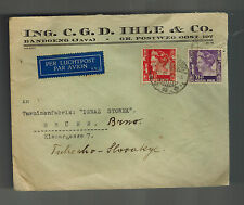 1938 Netherlands Indies airmail cover to Brunn Czechoslovakia CGD Ihle Company