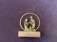 Vintage Metal Mary, Jesus and Joseph on Wooden Base