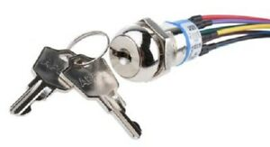 Apem JD SERIES KEY SWITCH JD10F126W 4A 28VDC 3-Way DPST Momentary, Key Trapping