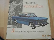 catalogue  SIMCA Vedette trianon versailles régence 1955