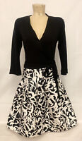 "Diane von Furstenberg Black White Wrap Dress Size 10 16.5"" 3/4 Sleeve Wool Silk"
