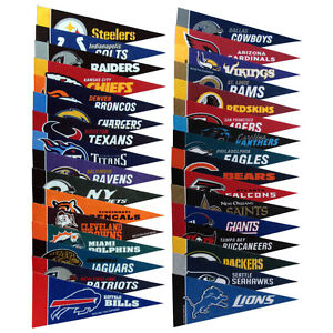 "NFL AMERICAN FOOTBALL MINI FELT TEAM LOGO PENNANTS FLAGS 9"" X 4"" COLLECT EM ALL"