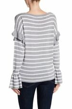 OLIVIA SKY Striped Ruffle Bell Sleeve Sweater Gray Large NWT