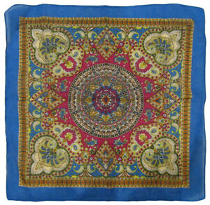 "Wholesale Lot of 3 Paisley Mosaic Multi Color Blue 100% Cotton 22""x22"" Bandana"