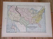 1896 ORIGINAL ANTIQUE MAP OF UNITED STATES TERRITORIAL EVOLUTION EXPANSION