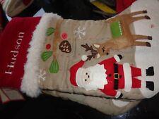 Pottery Barn Kids Woodland Stocking Christmas Santa Reindeer  mono Hudson New