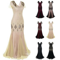 Formal Women Prom Evening Party Long Dress Sequins Cocktail Wedding Ball Gown