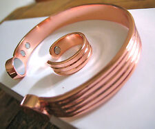 Copper Magnetic Bracelet Arthritis Men Women 10mm Adjustable Cuff + Ring SALE