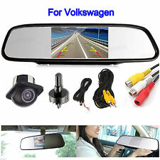 "4.3"" Mirror Monitor Color Car Rear View Backup Reverse Camera Kit For Volkswagen"