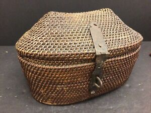 Antique Chinese Basket Tea Caddy Iron Hinges And Lock
