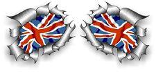 Small Pair STD RIP Ripped Torn Metal Union Jack British GB UK Flag car sticker