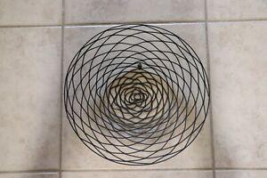 """Round Black Metal Basket Filigree Wall Hanging 15.5""""/Decorative Table Bowl"""