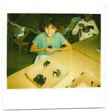 Vintage 80s Kodak Instant PHOTO Young Little Girl Holding Hamsters In Classroom