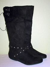 WOMENS BLACK FAUX SUEDE RAMPAGE FLAT KNEE HIGH BOOTS NEW US 10 EUR 35.5 36 36.5
