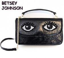 BETSEY JOHNSON Cat Eyes Handbag Wallet Black Purse NWT