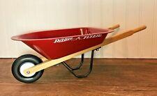 """Vintage Radio Flyer Retro Red Metal 16"""" Long Wheel Barrow, Display Piece Planter"""