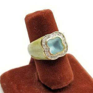 Sz 5 Lauren G Adams Ring Green Enamel Blue Clear Crystal CZ Jewelry 925 Vermeil