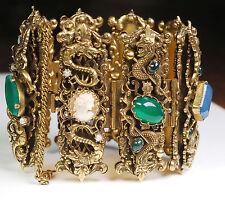 Rare Victorian Revival Dragon Griffin Angel Gemstone Cameo Glass Bracelet