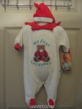 Infant Little Me My First Christmas Bear Velour Sleeper + Hat  6 Months NWT FLAW
