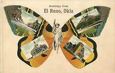 Oklahoma, OK, El Reno, Greetings, Butterfly  Girl Multi-View Early Postcard