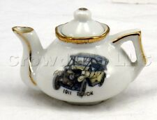 Decorative Collectible 1911 Buick White Gold Rim Ceramic Miniature Tea Pot & Lid