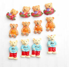 12 Resin Teddy Bear Set Card Topper Embellishments