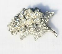 BROOCH silver flower with rhinestones