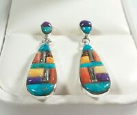 "925 STERLING SMALL TURQUOISE SPINY OYSTER LAPIS 1 3/16"" x 5/16"" POST EARRINGS"
