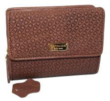 Saddler Leather Embossed Tri-Fold Purse Wallet Mocha Brown