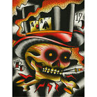 Aces High by Ryan Downie Poker Skull Top Hat Colorful Tattoo Canvas Art Print