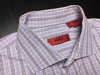 HUGO BOSS Mens 15 32/33 Brown Blue White Plaid Long Sleeve Spread Collar Shirt