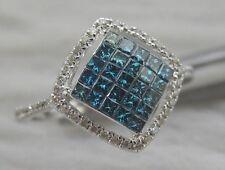 14K FANCY BLUE PRINCESS CUT DIAMOND w/ WHITE DIAMOND RING