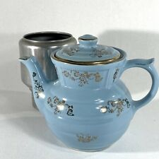 New ListingVintage Blue Drip-o-lator Ceramic Coffee Tea Pot by Enterprise Aluminum Co Usa